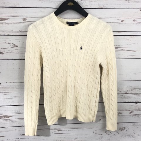 b9df2a510 Ralph Lauren Polo cable knit sweater Cream Ivory primary of - Depop