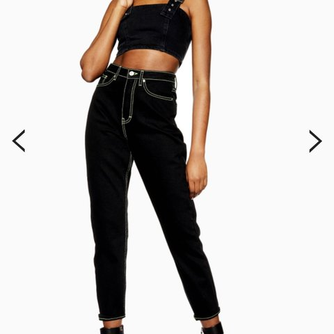 f5efb6a1928b @remyl. 2 days ago. Arvada, United States. Topshop mom jeans black high  waisted jeans with green stitching super sick they are in great condition