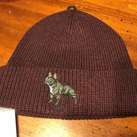 54fade6380a5b Polo Ralph Lauren Burgundy French Bulldog Hat - Depop