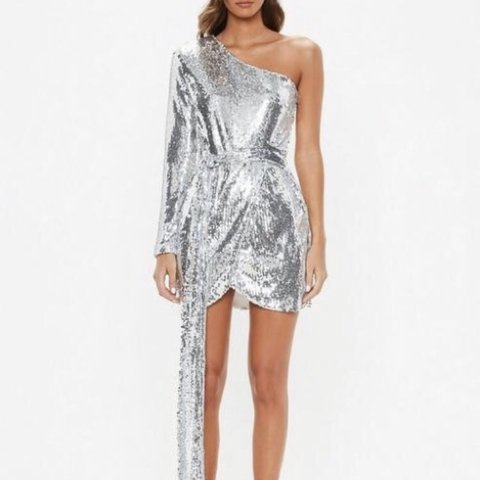 2f63a72e812 Missguided one shoulder silver sequin dress Size 12 Worn out - Depop