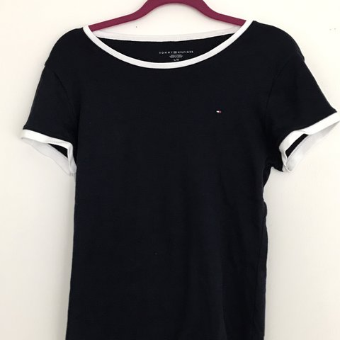 35f72e83284 authentic tommy hilfiger tee in navy blue and white in buy i - Depop