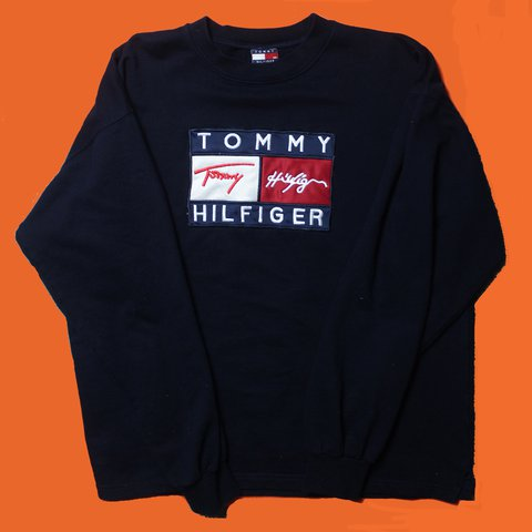5376b950 @scarphelia. last year. Brighton, United Kingdom. Vintage 90's Tommy  Hilfiger XXL big logo crew neck sweater ✨