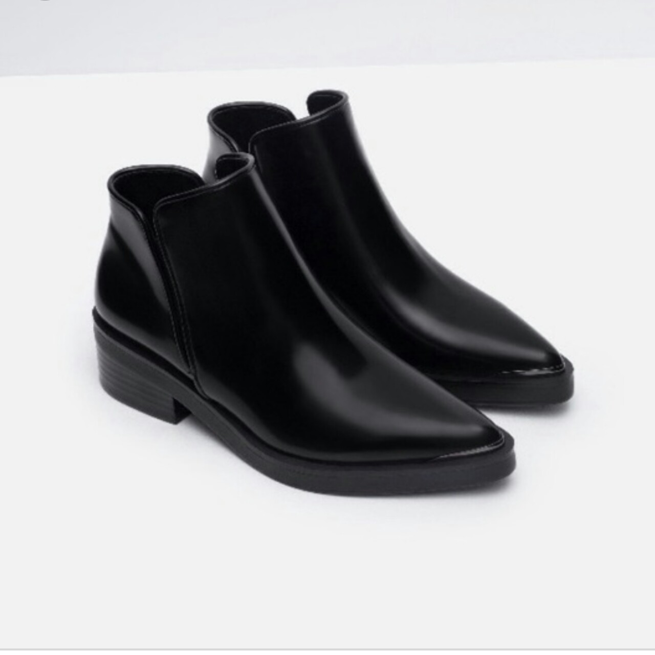 ZARA Black flat pointed ankle boots