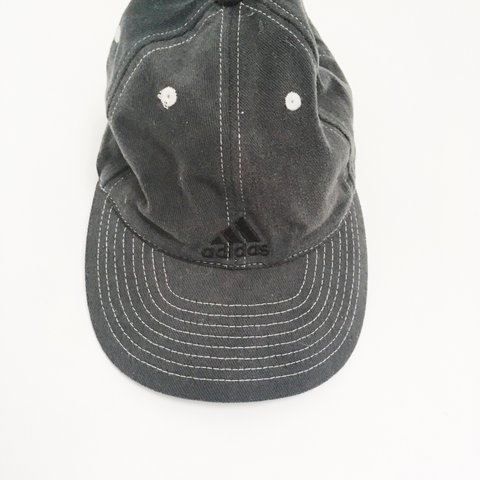 2f440c74975 Vintage black adidas cap - washed out colour with cream ace - Depop