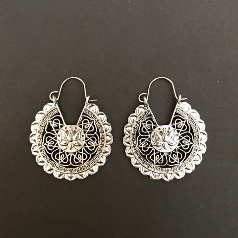 Silver Lotus Flower Mandala Earrings These Babes Are With Depop
