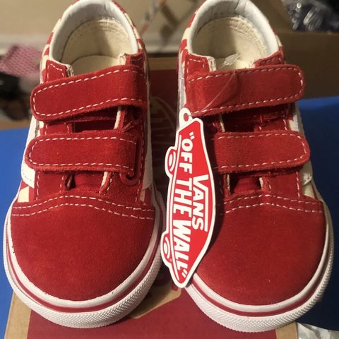 a730b29b432e Baby vans size 4 T Old Skool V Primary checkered Red white - Depop