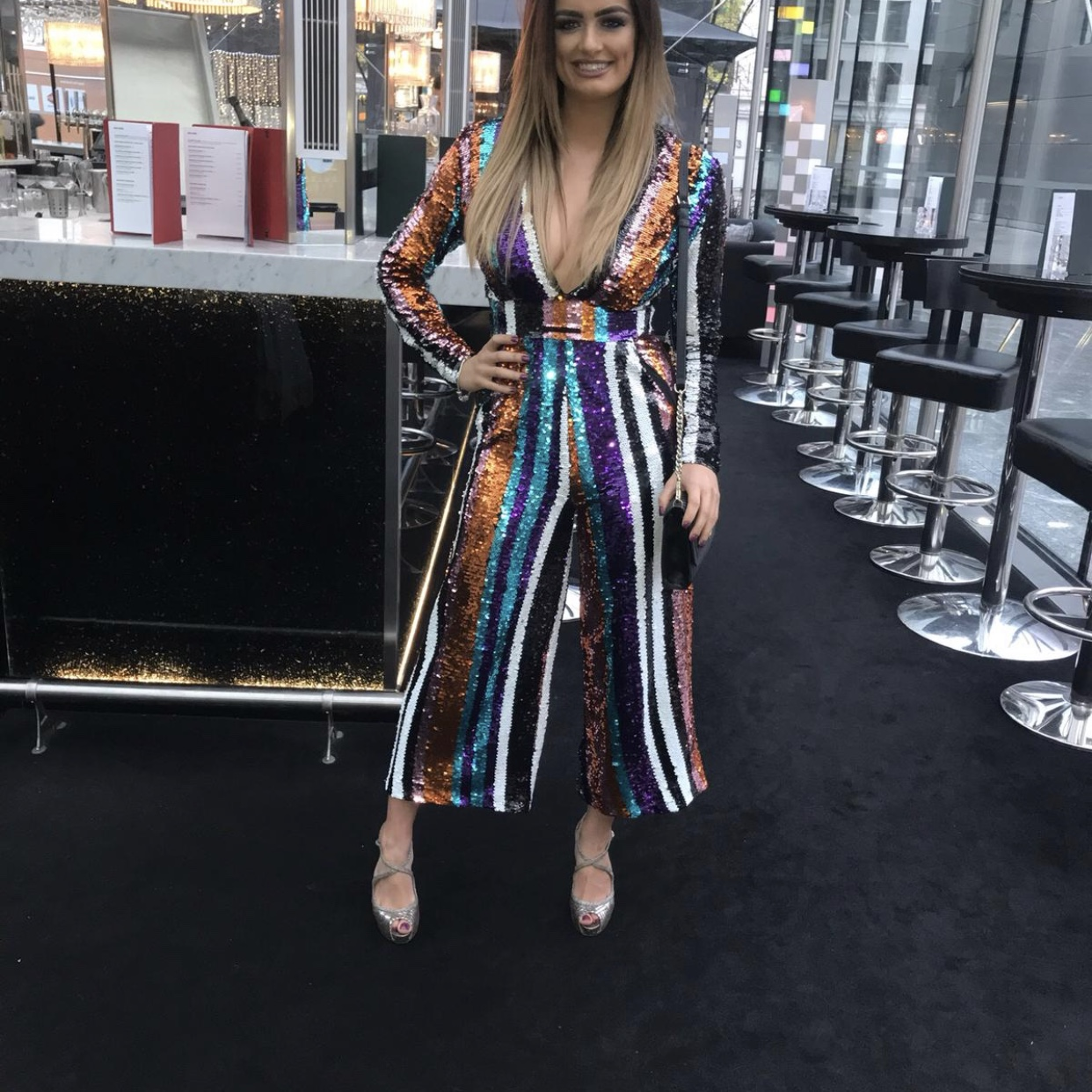 skate shoes search for clearance discount collection Club L London Stripe Sequins Plunge Jumpsuit RPR £65 ...