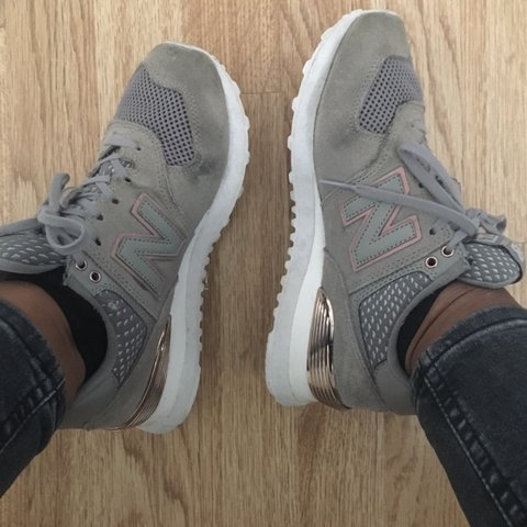 6e7c8094ee96 Size 4 grey new balance trainers with rose gold details at a - Depop