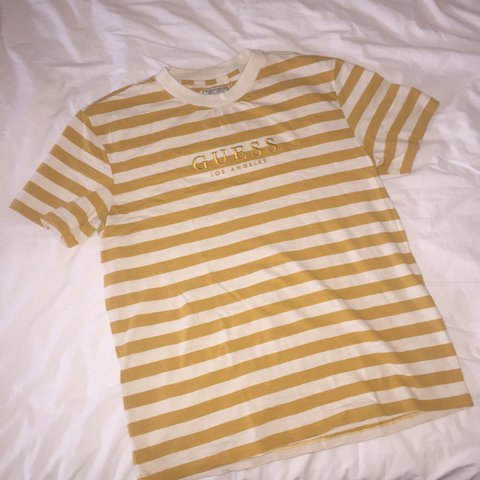 00736f50 Guess asap rocky Striped Tee Yellow & White | Size S | Very - Depop