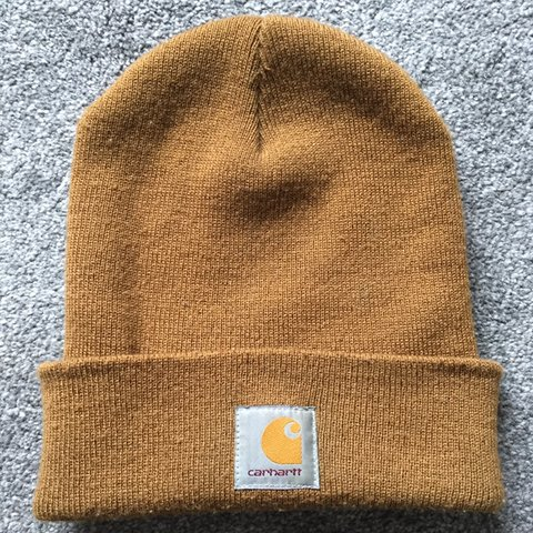 35bc749cfdd8f Carhartt beanie in mustard Condition - used One Size - Depop