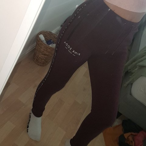 0e09e8931a6a burgundy  pink soda  joggers. not baggy but so comfy to only - Depop