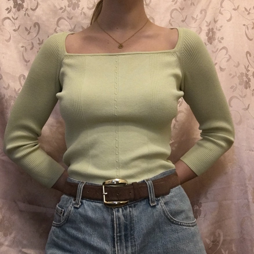 Minty Mami 🧁 Gorgeous Square Neck Mint Green Silk by Depop