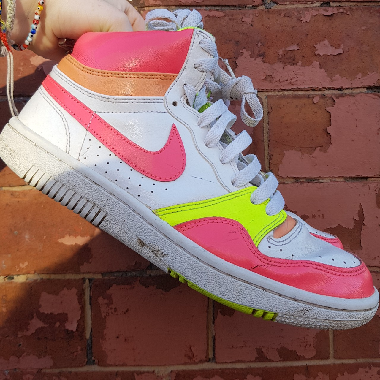 Size 6 Nike High Top Trainers Air Force 1 With Neon Depop