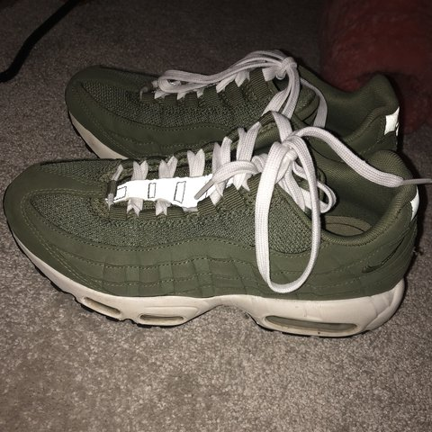 73c9915ade Nike Air max 95s in khaki green with white laces😎😎😎😎 6 a - Depop