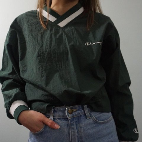 5e060a577c19 Vintage Champion dark green windbreaker with Champion logo ! - Depop