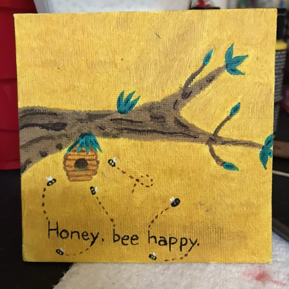 "3x3 inch ""honey, bee happy"" oil mini painting     - Depop"