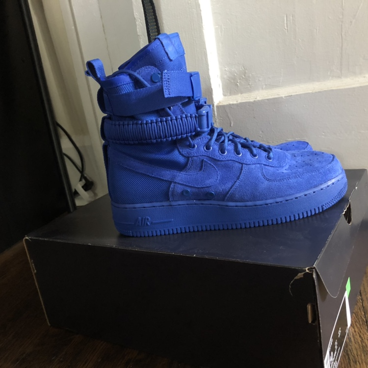 buy popular 3599e c98e5 nike sf af1. blue high top Air Force ones. Worn... - Depop