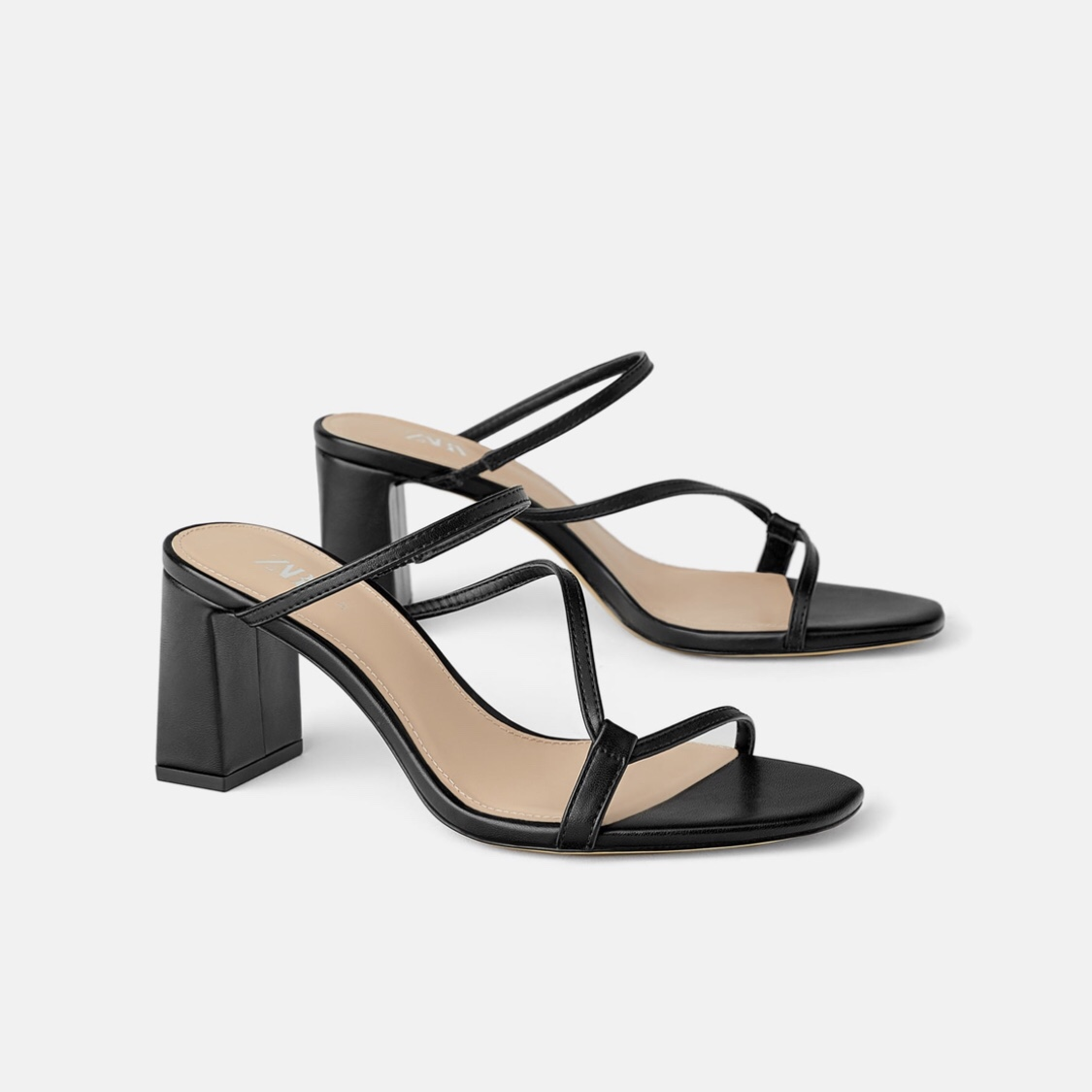shoes for cheap ever popular outlet for sale Zara black mid heel mules / heeled strappy sandals... - Depop