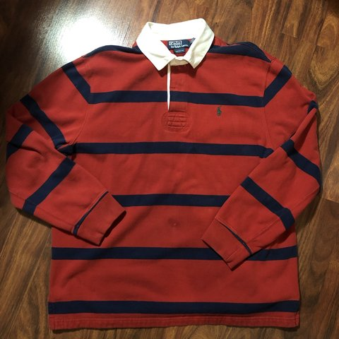 e3f8679f @vintage90sklub. 14 days ago. Orlando, United States. Polo Ralph Lauren  Rugby long sleeve stripe shirt. Custom fit ...