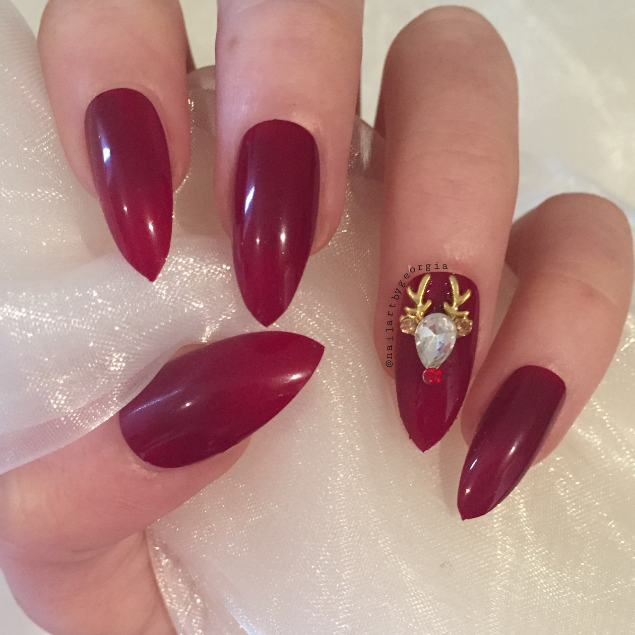 Christmas Stiletto Nails.Red Christmas Stiletto Nails With Reindeer 3d Depop