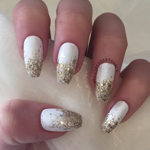 White Coffin Nails With Gold Glitter Ombre Glue Is Sold Depop
