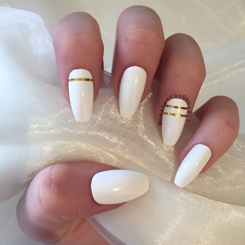 Long Matte White Coffin Nails With Gold Tape Design Glue Is Depop