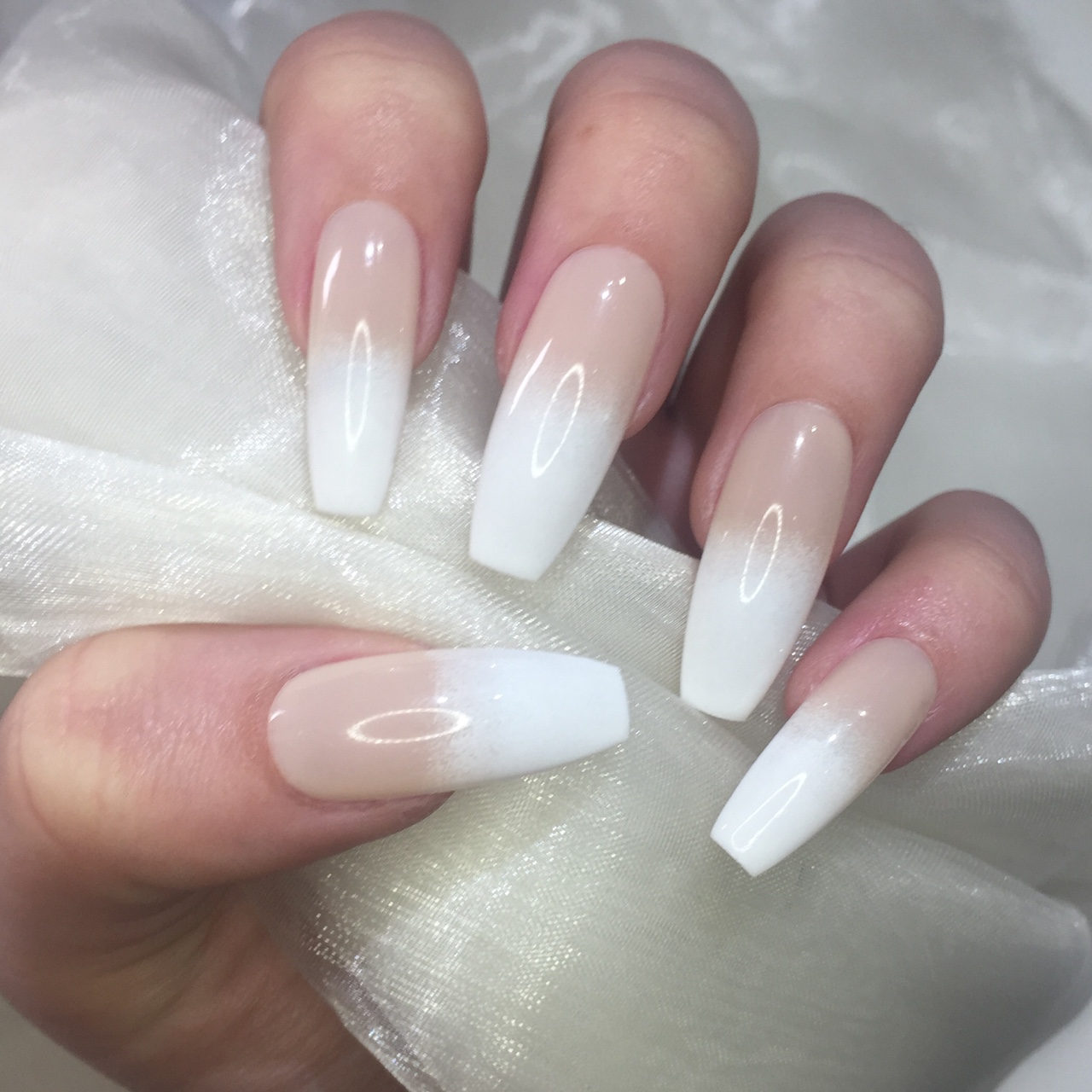 Sheer Nude To White Extra Long Coffin Nails Clear Depop