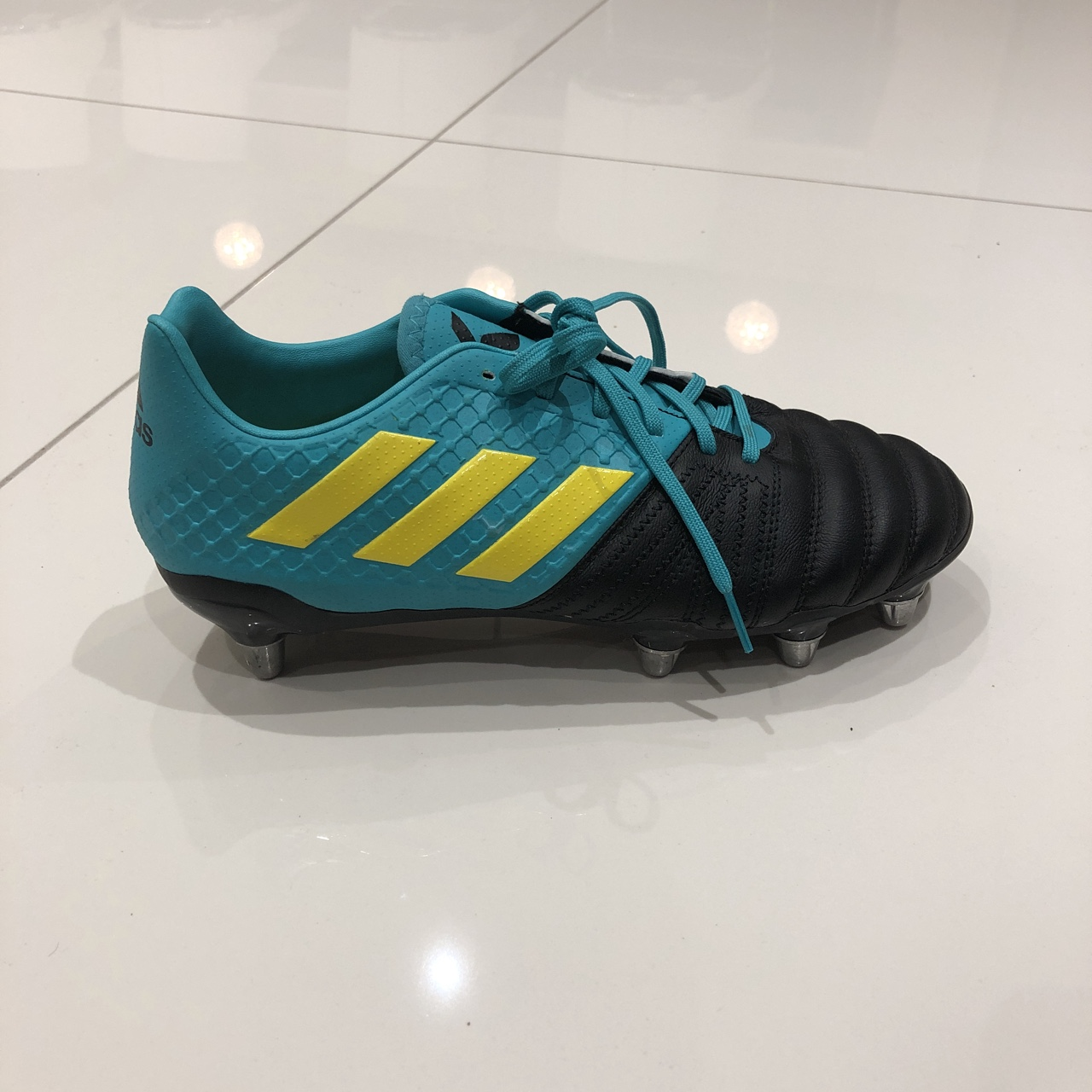 Adidas Rugby Boots In Turquoise And Black Only Worn Depop
