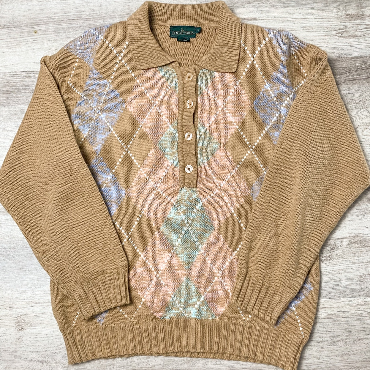🧸 Vintage Argyle Polo Collared Sweater 🧸