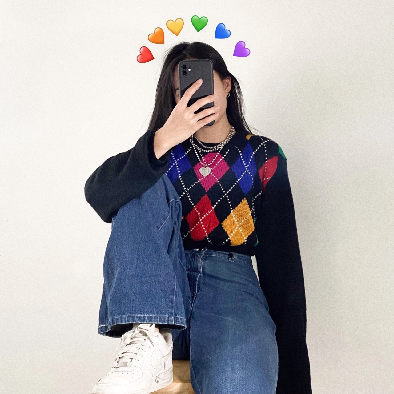 🌈 Vintage Reworked Cropped Argyle Sweater Top 🌈