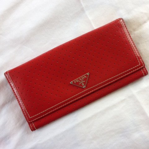 e0917e8cda313 Red PRADA wallet. Authentic. Gorgeous color and style. Very - Depop