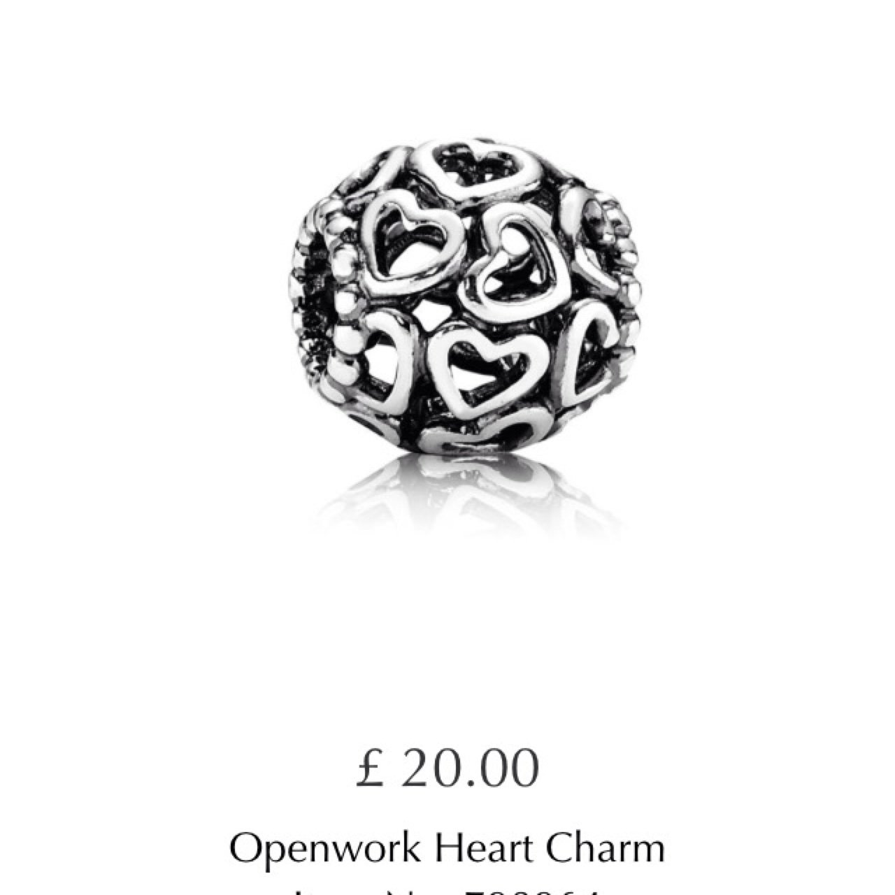 240201fd5 Pandora 787516 Rose Beaded Heart Charm Image 1 .