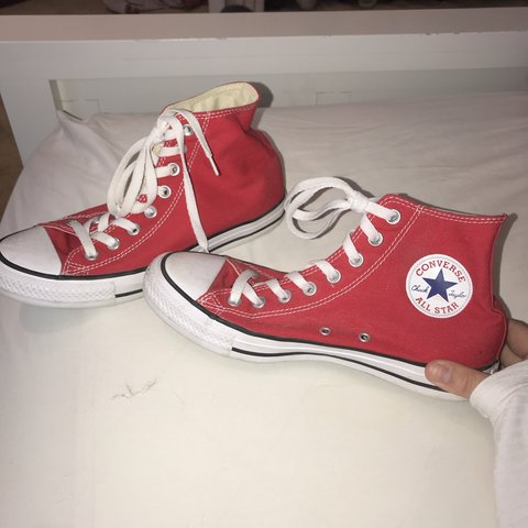 4641afad9026 @taylorniendorf. 2 months ago. Encinitas, United States. Red Converse Chuck  Taylors High tops. Worn once. Size 9 Women's