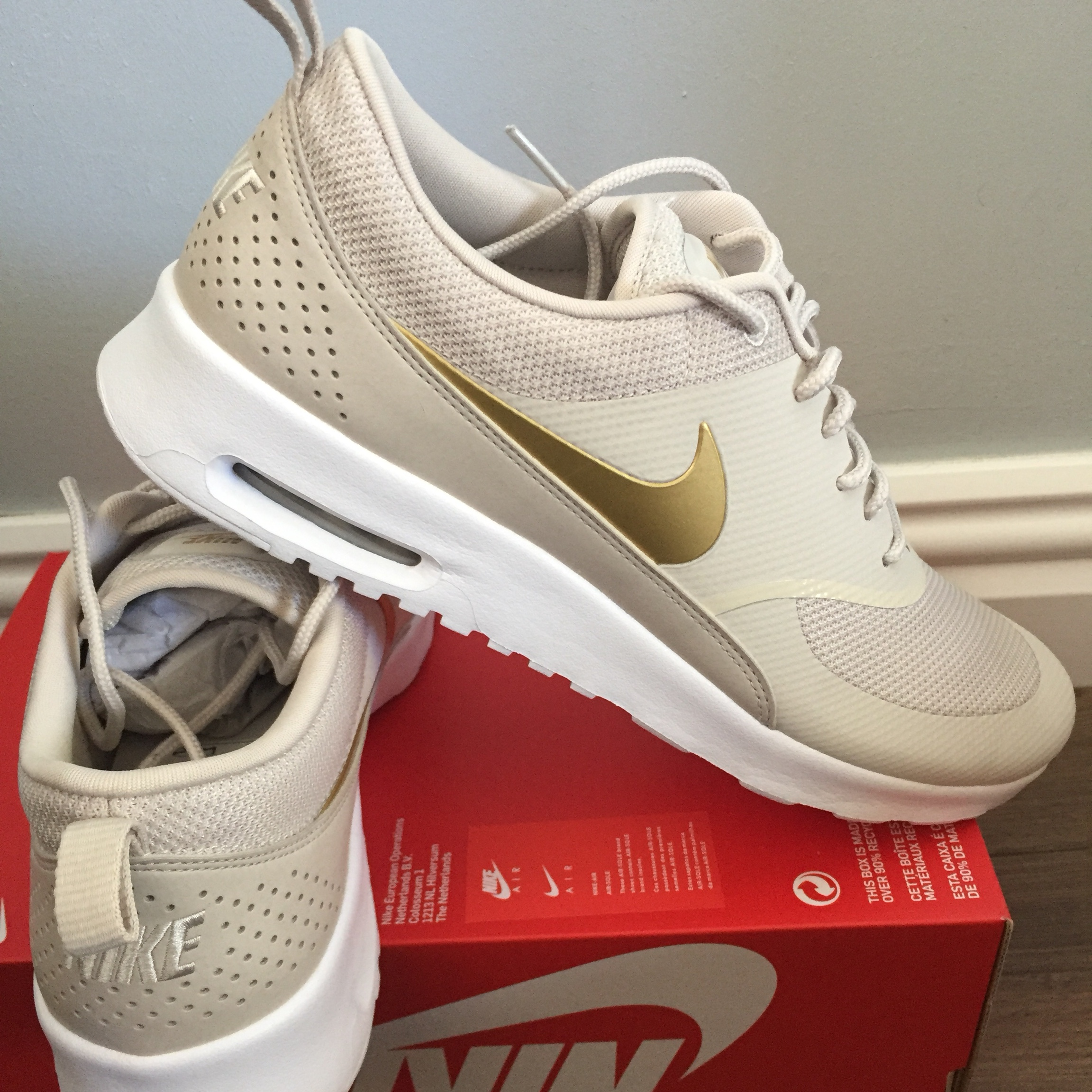 Women's Nike air max Thea j beige and gold U.K. size Depop