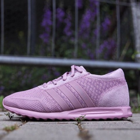 18403f4aca6b5 Selling pink purple adidas Los Angeles trainers in a UK 4.5. - Depop