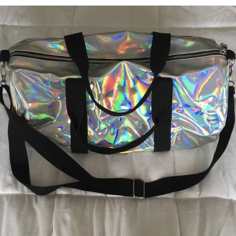 d91e5be692e0 Madden girl holographic duffle bag by Steve Madden.  gymbag - Depop