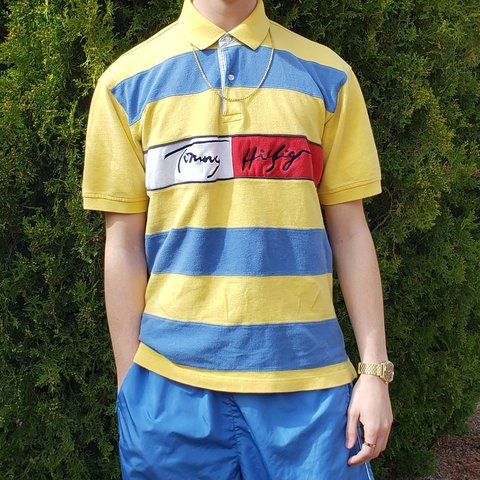 c9f6e004c Super rare Vintage 90's Tommy Hilfiger Sky blue and yellow a - Depop