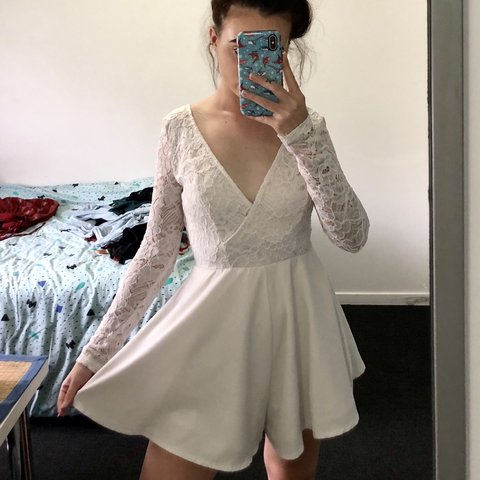 858504207c White Lacy Lace up Playsuit. frickin gorgeous addition to a - Depop