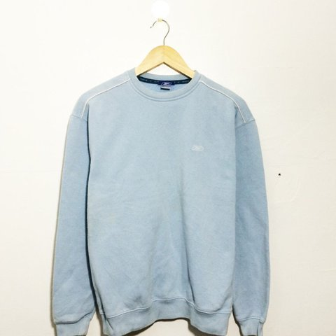 9156aec0d5791 Vintage retro baby blue  light blue Reebok sweater    jumper - Depop