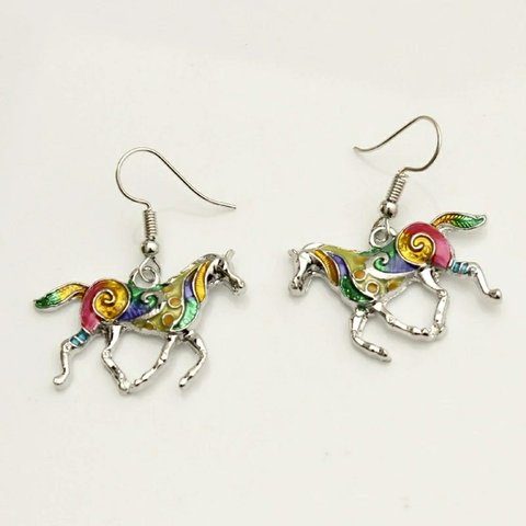 fd5762896 @theblinguation. 4 months ago. Pico Rivera, Los Angeles County, United  States. Rainbow Horse Earrings Beautiful Multicolor Silver Plated ...