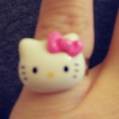 420acc8c9 Girl's White Kitty Ring Cute White Kitty with a Pink Bow on - Depop