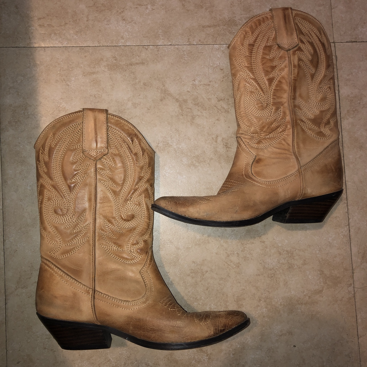 ed8252cff56 Tan/Neutral Cowboy Boots from Aldo, the style is... - Depop