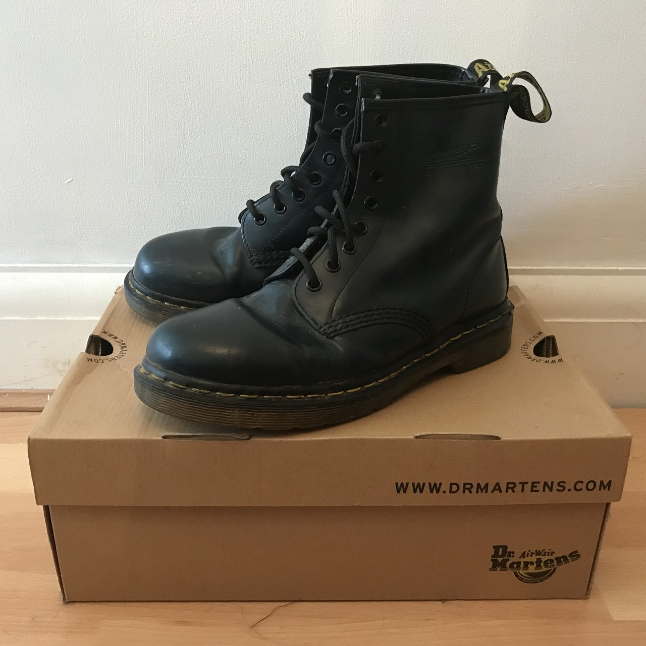 Dr Martens Navy Boots in original box! Size 6 Boots are in - Depop 11a0fbaa3b95