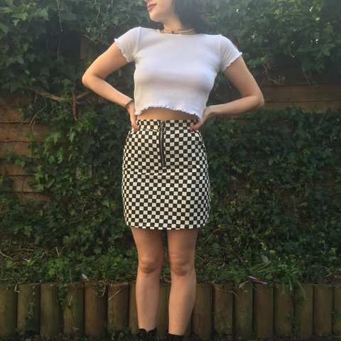 1b69f9002120 @seliizy. last month. London, United Kingdom. Black and White Checkered  Gingham Skirt with O-Ring ...