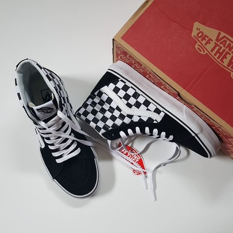 2dc755d2244f51 Vans Sk8-Hi with checkered on the sides. Super trendy and US - Depop