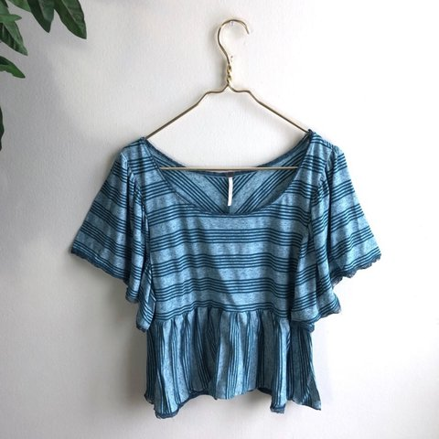 55b2a504088f0d @g0ldenhanger. last month. Southfield, United States. Free People Teal  Candy Ruffle Knit Striped Top.