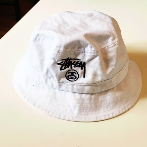 f2fdf7bf12568 Very rare colourway white Stussy bucket hat - excellent - - Depop