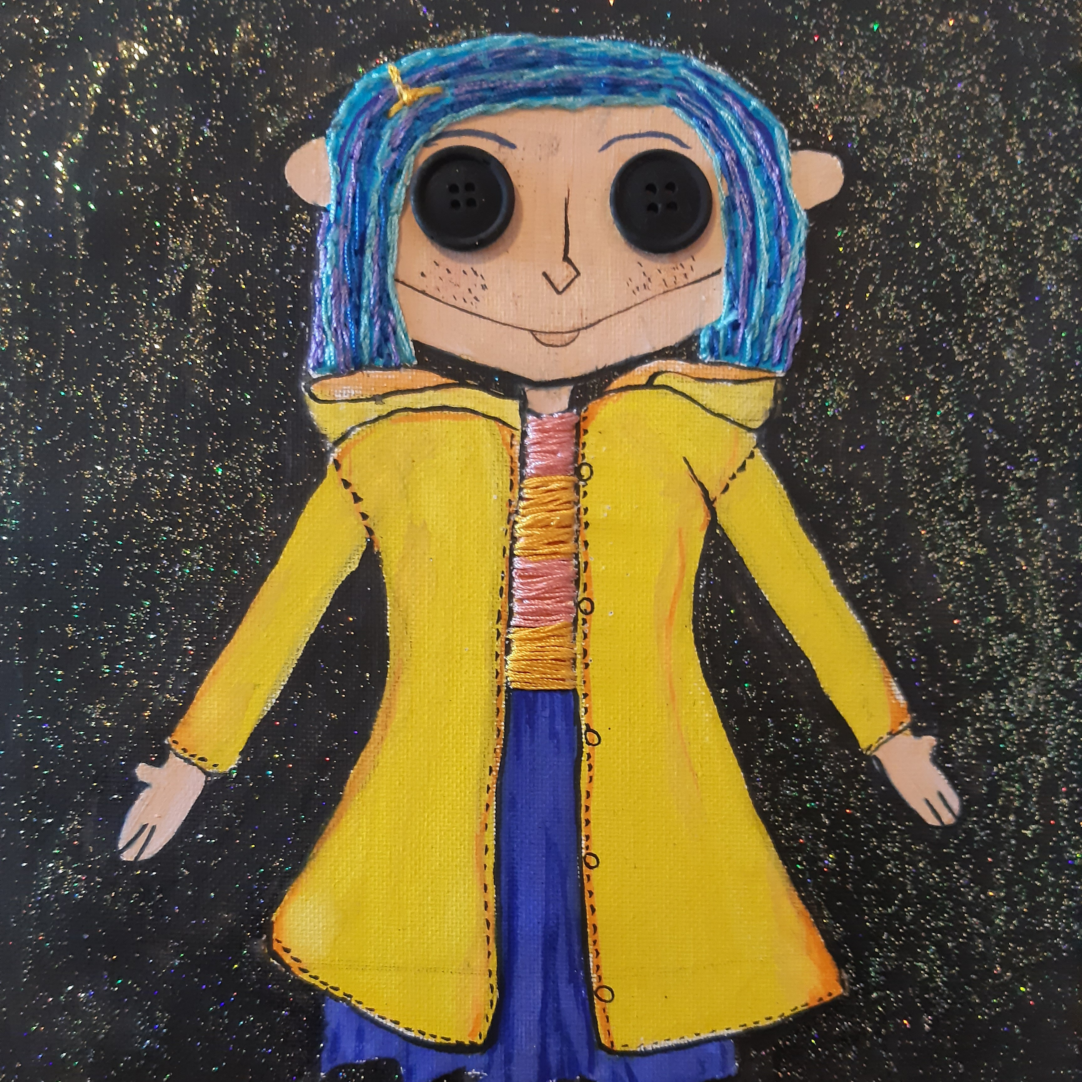 Hand Painted Stitched Coraline Doll 12x10 Inch Depop