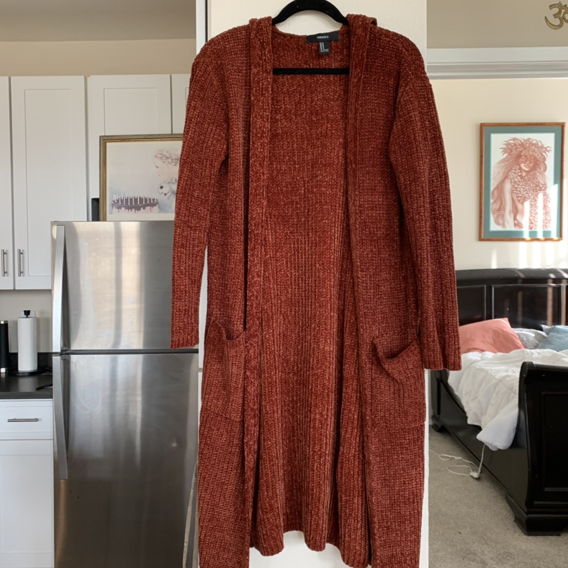 Burnt Amber Long Cozy Cardigan With Hoodie And Pockets Depop