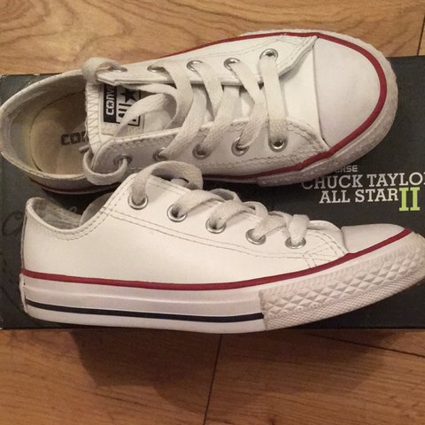 328c5c9afdc0 Kids Converse white leather. Size 12.5 9 10 condition. - Depop